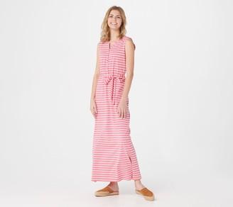 Denim & Co. Regular Striped Perfect Jersey Henley Maxi Dress