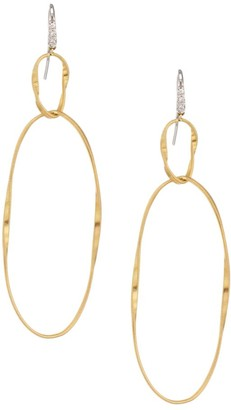 Marco Bicego Marrakech Onde 18K Yellow Gold & Diamond Large Coil Double-Drop Hoop Earrings