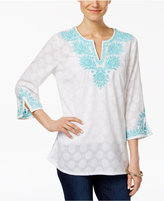 Charter Club Embroidered Textured Tunic, Only at Macy's