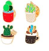 HAPPYTRY Cute Cartoon Brooch Pins Jewelry Set Animal Bonsai Rose Badge (2#)