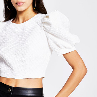 River Island White textured short puff sleeve cropped top
