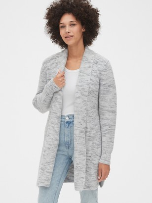 Gap Spacedye Waffle-Knit Longline Cardigan Sweater