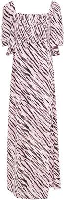 Baum und Pferdgarten Atena Shirred Tiger-print Crepe Maxi Dress