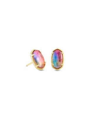 Kendra Scott Grayson Gold Stud Earrings in Watercolor Illusion