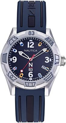 Nautica N83 Ladies' NAPPOF915 Polignano Navy/Silver Silicone Strap Watch