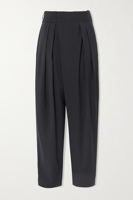 Low Classic Pleated Woven Tapered Pants - Charcoal