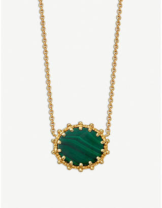 Astley Clarke Floris 18ct gold-plated vermeil silver and Malachite pendant
