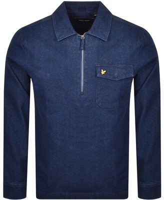 Lyle & Scott Long Sleeved Half Zip Shirt Blue