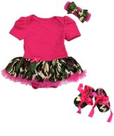 Ameda Baby Camouflage Camo Romper Bodysuit Tutu Pink