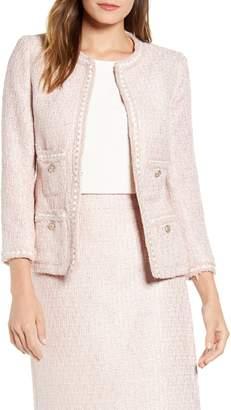 Anne Klein Fringe Trim Tweed Jacket