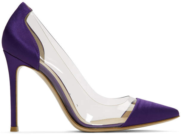 Gianvito Rossi Purple Satin and PVC Plexi Heels