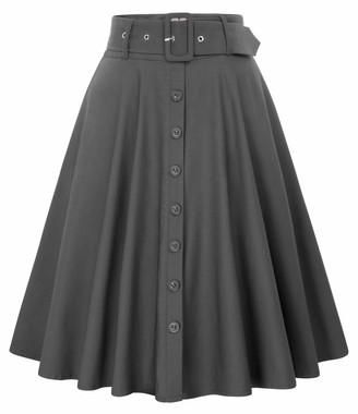 Belle Poque Vintage 50s Women Classic Pockets Belt Fancy Wiggle Tea Skirts Dark Gray#571 Large