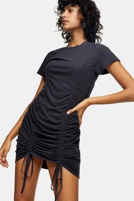 Topshop Womens Grey Cupro Ruched Ribbed Mini Dress - Grey