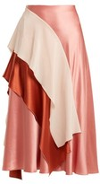 Roksanda Mahria Asymmetric Silk-satin Skirt - Womens - Pink Multi