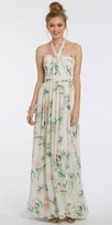 Camille La Vie Print Tie Neck Halter Evening Dress