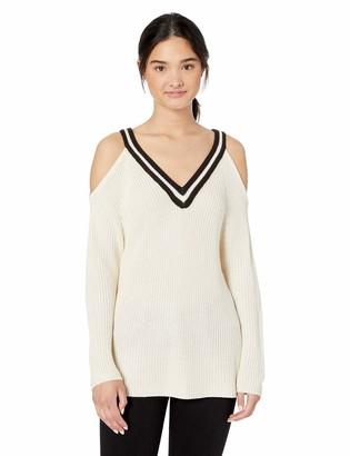 Jack by BB Dakota Womens Made The Squad Cold Shoulder Striped V-Neck Sweater