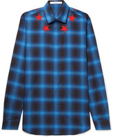 Givenchy Cuban-Fit Star-Appliquéd Checked Brushed-Twill Shirt