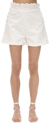Azulu Del Pozo Cotton Eyelet Lace Shorts