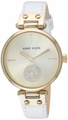 Anne Klein Women's AK/3380BKBK Swarovski Crystal Accented Gold-Tone and Black Leather Strap Watch
