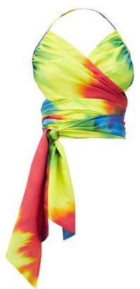 Alexandre Vauthier Halterneck Tie-dye Silk Wrap Top - Multi