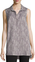 Joan Vass Linen-Blend Sleeveless Blouse