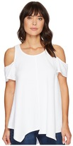 Heather Cotton French Terry Cold Shoulder Swing Top Women's Clothing
