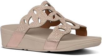 FitFlop Elora Leather Crystal Toe-Thong Sandal