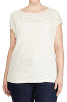 Lauren Ralph Lauren Plus Embroidered Sheer Top