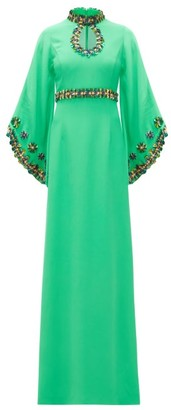 Andrew Gn Sequinned Fluted-sleeve Crepe Gown - Womens - Green