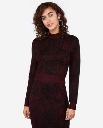 Express Negin Mirsalehi Snakeskin Print Mock Neck Sweater