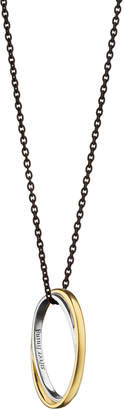 """Monica Rich Kosann Silver & 18k """"Silver Lining"""" Poesy Gold Double Ring Necklace"""