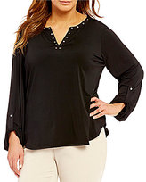 Investments Plus Roll Sleeve Grommet Y-Neck Popover Top