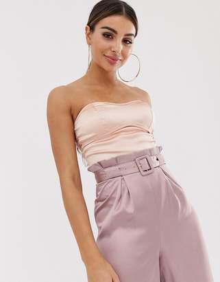 The Girlcode satin bandeau bodysuit with binding detail in blush-Pink