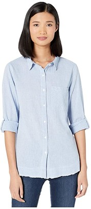 True Grit Dylan by Malibu Linen Long Sleeve Shirt with Frayed Hem (Chambray) Women's Clothing