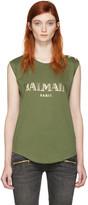 Balmain Khaki Logo T-Shirt