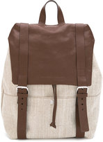 Brunello Cucinelli buckled straps backpack - men - Leather/Cotton - One Size