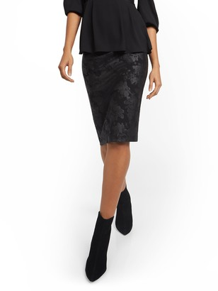 New York & Co. Whitney High-Waisted Faux-Leather Floral Skirt