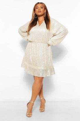 boohoo Plus Sequin Ruffle Hem Skater Dress