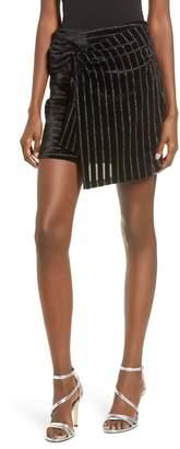 J.o.a. Metallic Stripe Faux Wrap Miniskirt