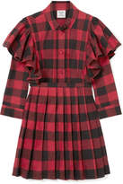 Vetements Ruffled Checked Cotton-flannel Mini Dress - Red