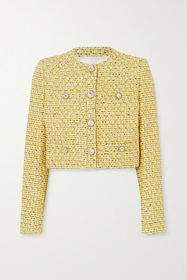 Alessandra Rich Cropped Crystal-embellished Sequined Tweed Jacket - Yellow