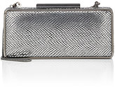 Barneys New York WOMEN'S SNAKE-STAMPED CLUTCH-SILVER