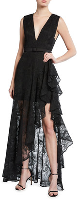 ONE33 SOCIAL Embroidered Lace High-Low Ruffle Gown