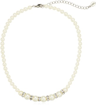 """1928 Jewelry Silver-Tone White Graduated Simulated Pearl and Crystal Strand Necklace 15"""" Adj."""