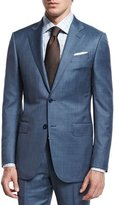 Ermenegildo Zegna Sharkskin Two-Piece Wool Suit, Blue