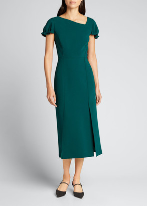 Jason Wu Collection Solid Asymmetrical-Neckline Crepe Midi Dress