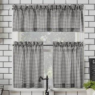 No. 918 Parkham Farmhouse Plaid Semi-Sheer Rod Pocket Kitchen Curtain Valance and Tiers Set
