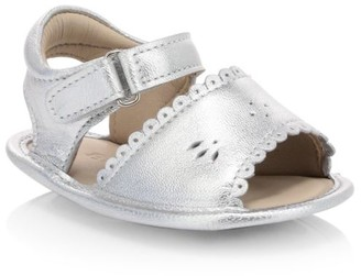 Elephantito Baby Girl's Scallop Metallic Leather Sandals