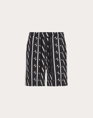 Valentino Bermuda Shorts With Vltn Times Print Man Black/white Cotton 92% M