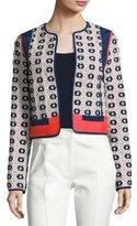 Tory Burch Rainford Daisy-Jacquard Cropped Jacket, Multi